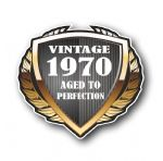 1970 Year Dated Vintage Shield Retro Vinyl Car Motorcycle Cafe Racer Helmet Car Sticker 100x90mm